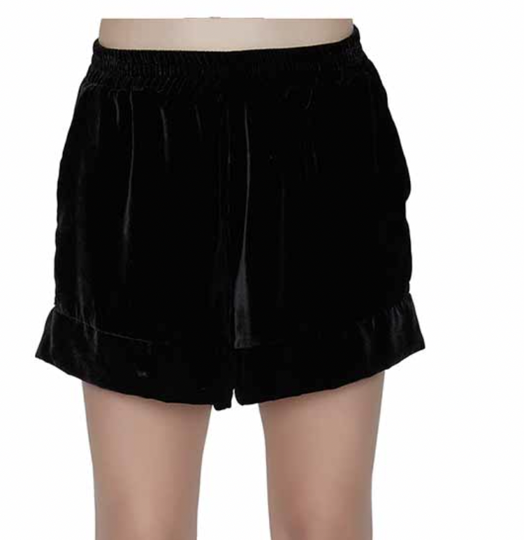 Maison de Papillon Stella Velvet Shorts