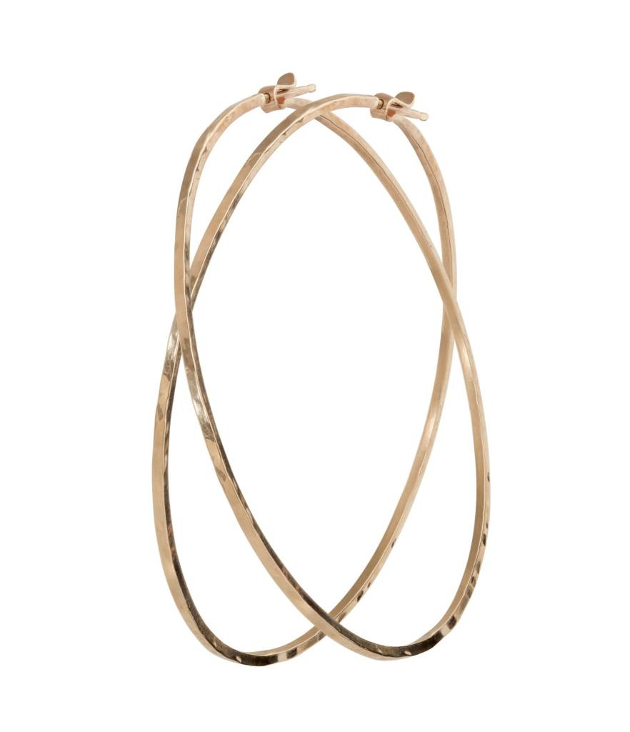 Julez Bryant Small Hammered Hoops 14k
