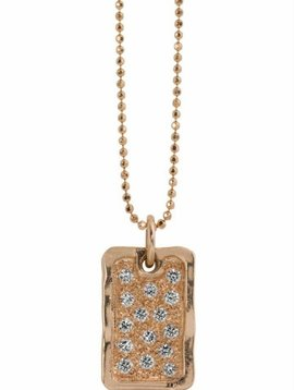 Julez Bryant Small Dog Tag Pendant w Scattered Diamonds