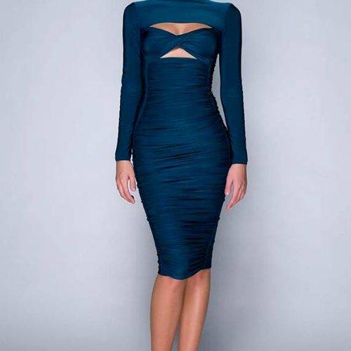 hamel Petrol Blue Midi Dress