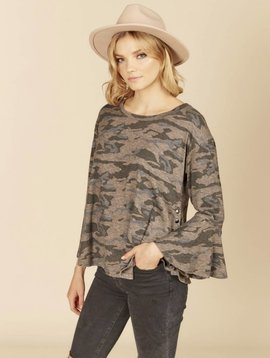 Ocean Drive Grey Camo Side Snap Top