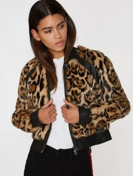 Pam & Gela Leopard Print Rabbit Jacket