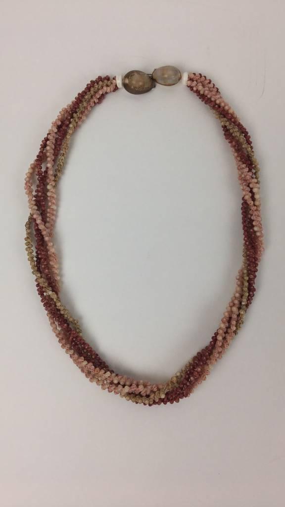 """Hana Hou Niihau 5 Strand Kahelelani ʻulaʻula, Kahelelani ʻōmaʻomaʻo, Ākalapua, Shell Necklace 20"""""""
