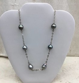 SS Fancy Chain Tin Cup Tahitian Pearl Necklace 13-10mm #52