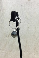 #80 9mm SS TAHITIAN PEARL HOOP EARRINGS