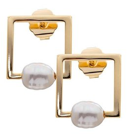 PEARL SQUARE STUD EARRING CREAM PEARL/GOLD