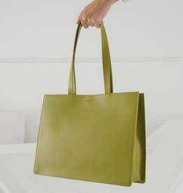 Large Leather Retail  Tote - Spanish Moss