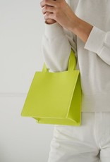 Small Leather Retail Tote - Chartreuse