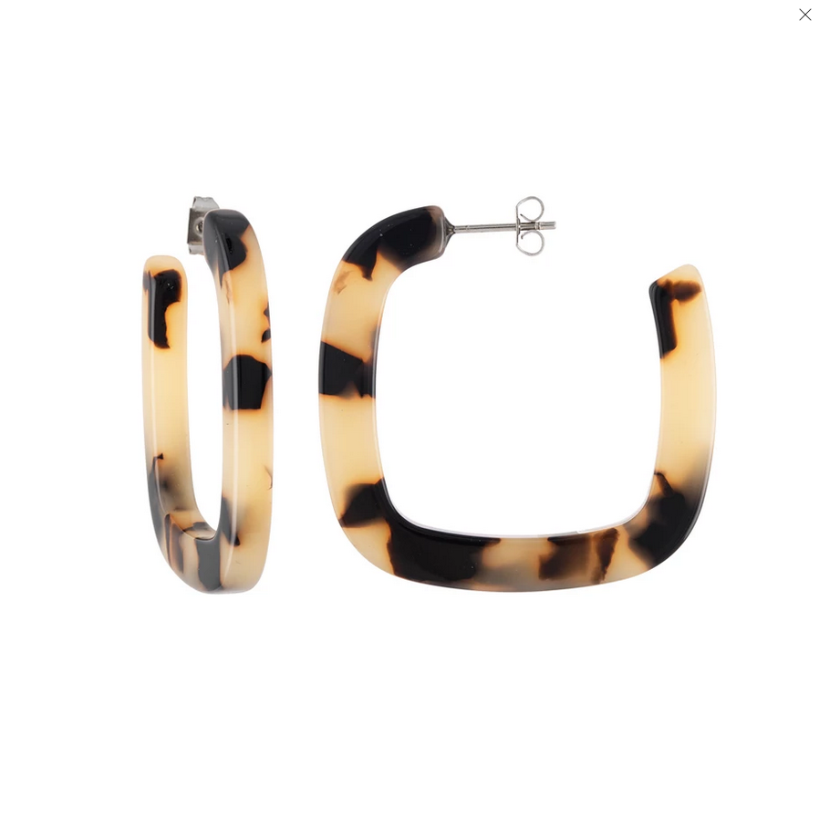 Midi Square Hoops in Blonde Tortoise