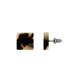 Block Earrings in Blonde Tortoise