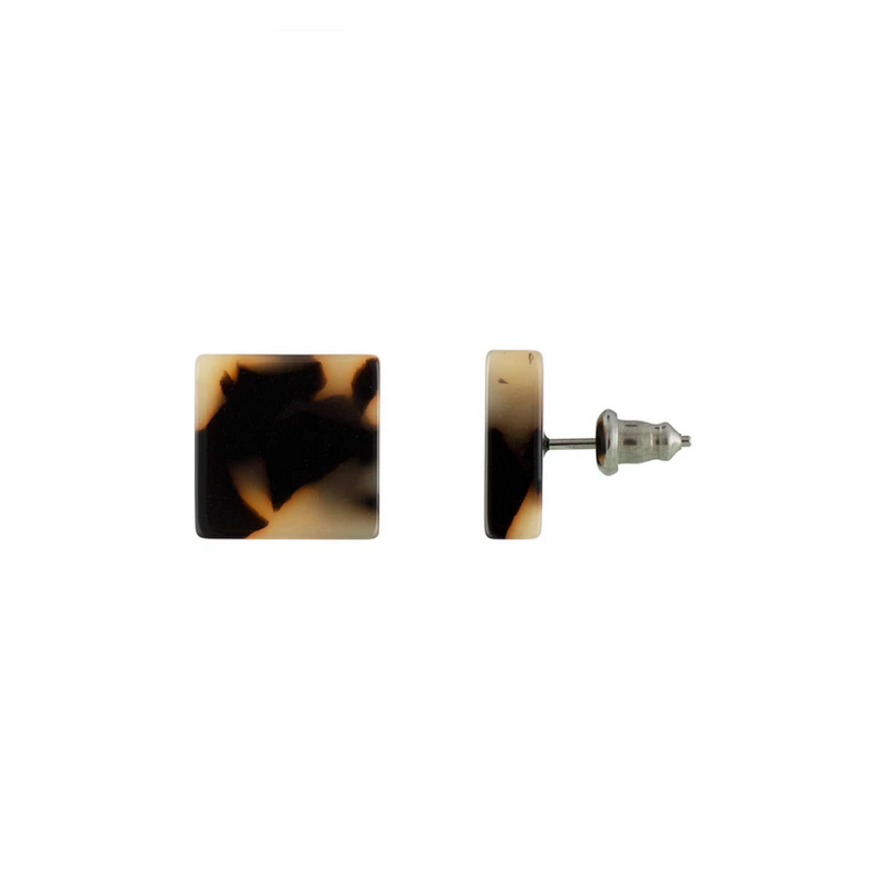 Block Earrings in Blonde Tortoise