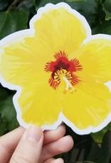 "Flower Sticker Yellow Hibiscus 5.5"""