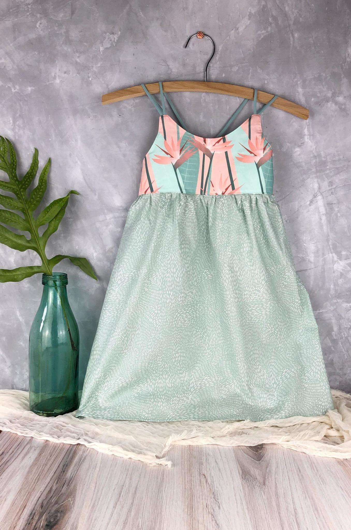 Bird of Paradise in Peach & Mint Dress