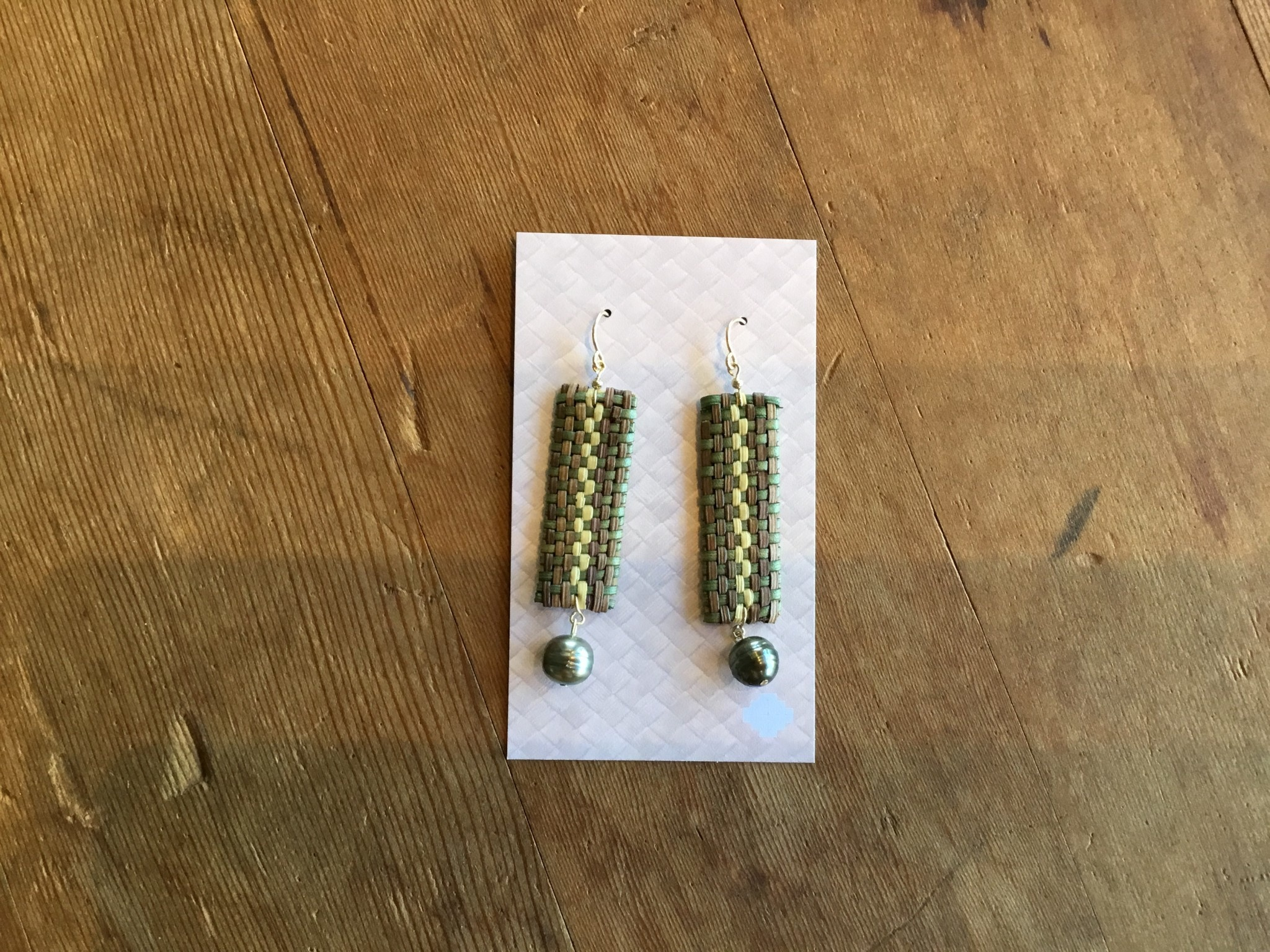 Ulana Lauhala Tahitian Pearl Earrings