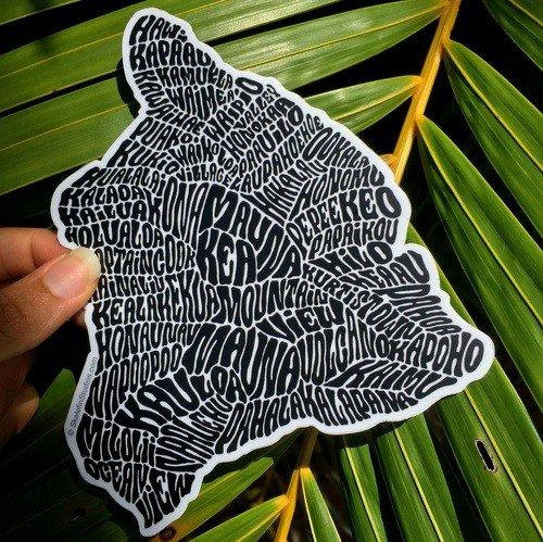Hawaii Island Sticker Black