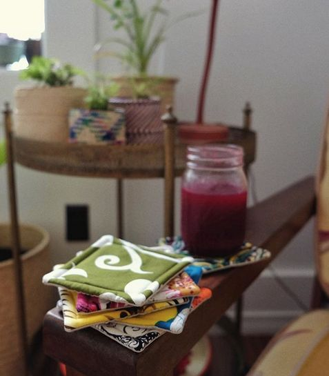 Vintage Fabric Coaster Set 6