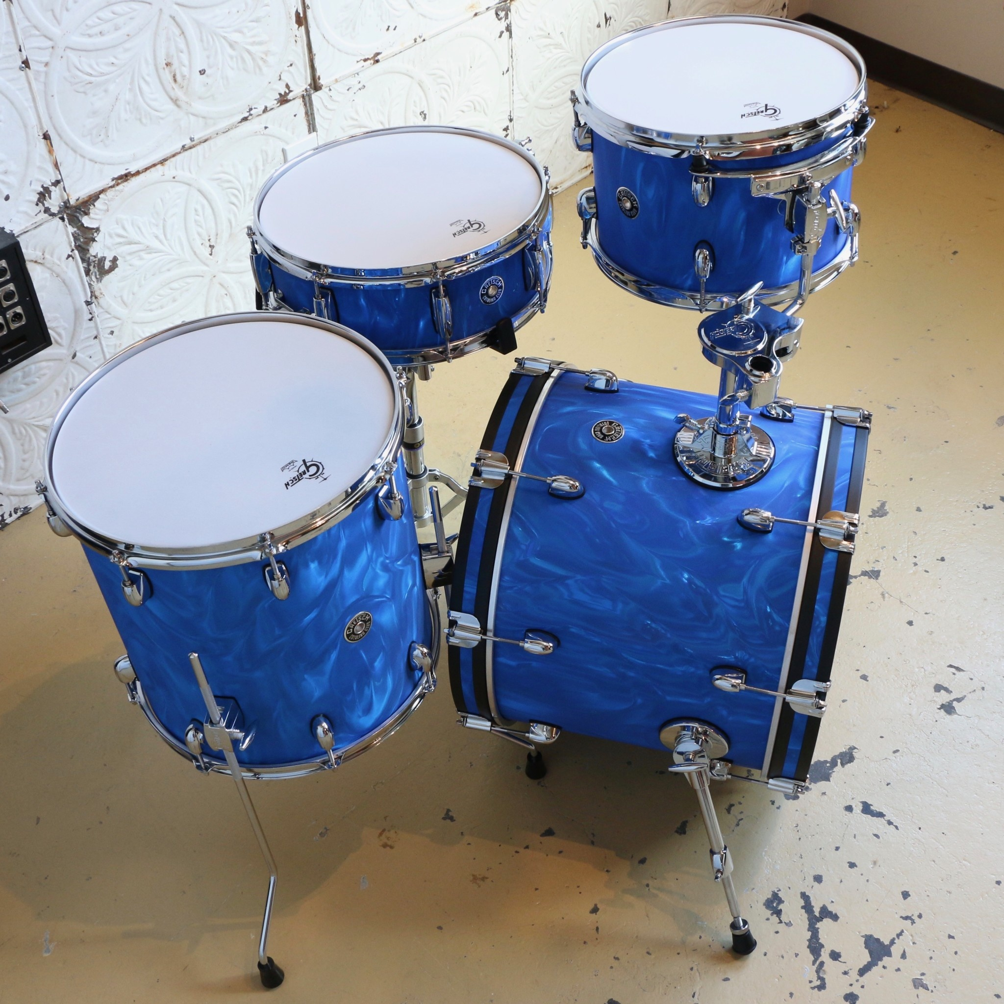 Gretsch Batterie Gretsch Catalina Club 18-12-14po + caisse claire 14po - Blue Satin Flame