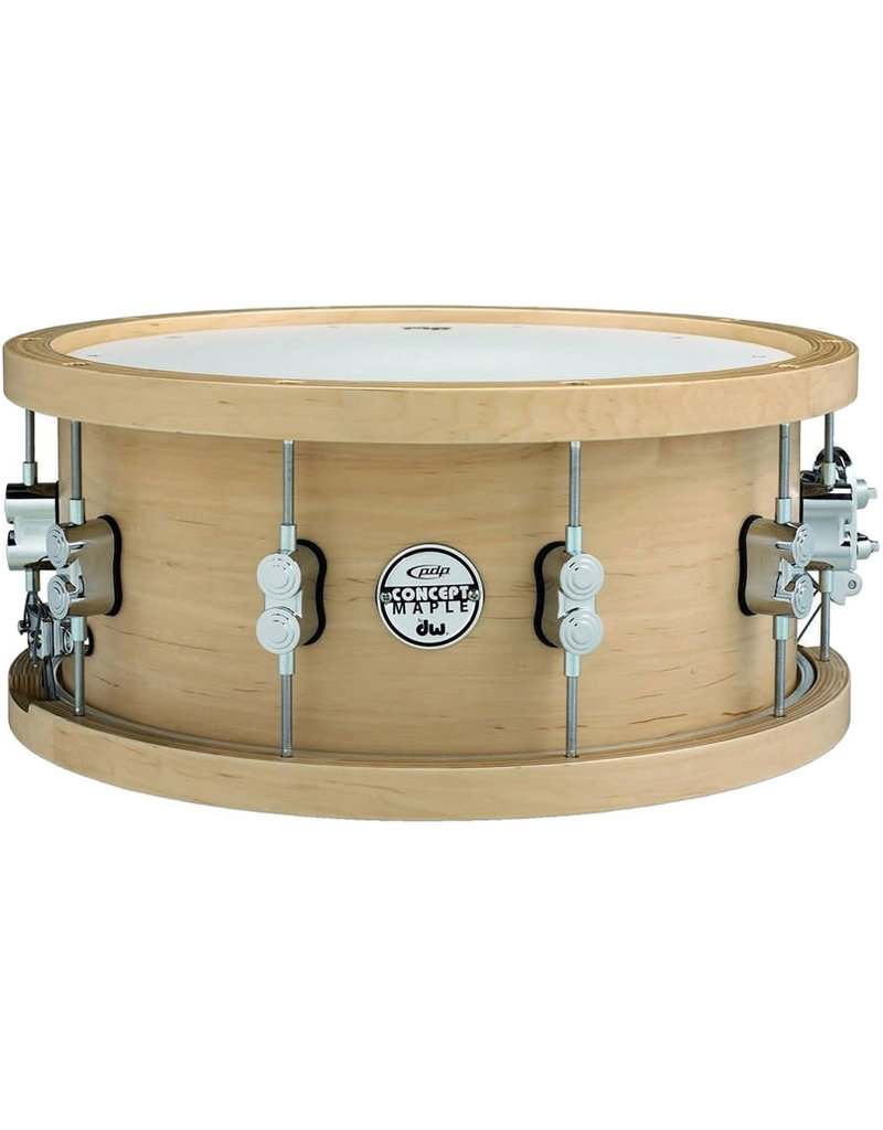 Pacific PDP PDSN6514NAWH 6.5x14 20-Ply Maple w/ Thick Wood Hoops Natural Lacquer w/ Chrome HW