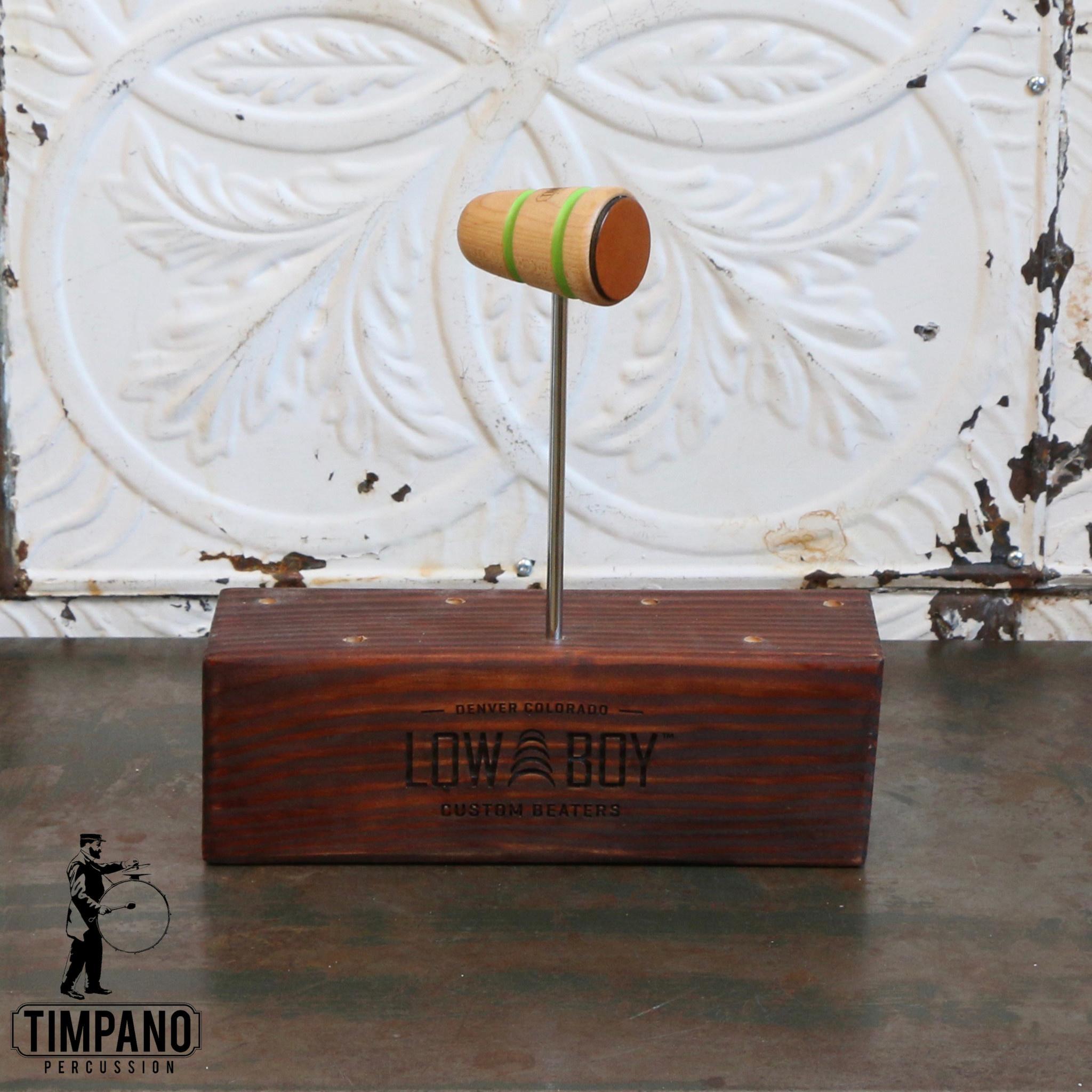 Low Boy Batte de grosse caisse Low Boy Leather Daddy Timpano (naturel, ligne verte)