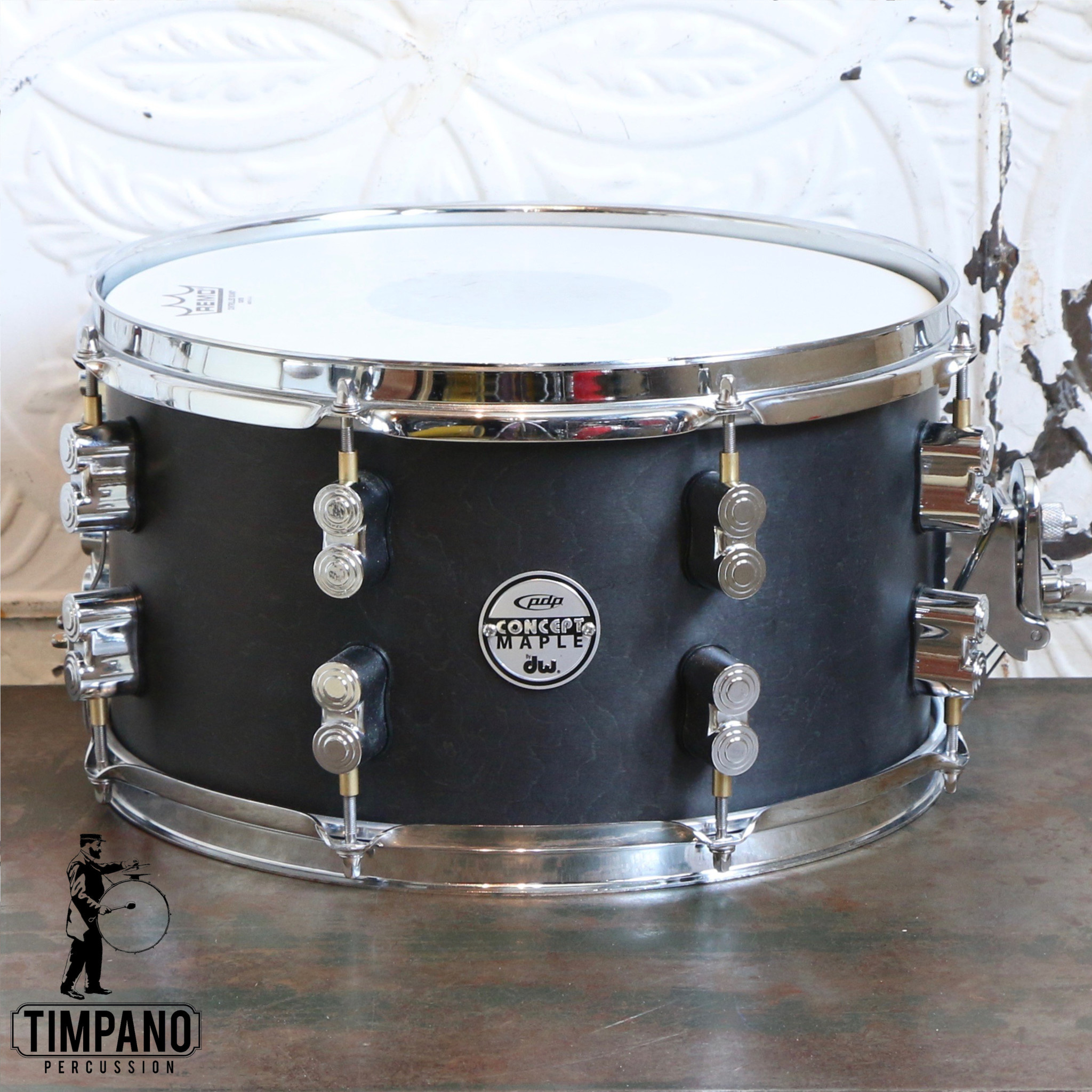 Pacific Used PDP Concept Black Wax Snare Drum 13X7in