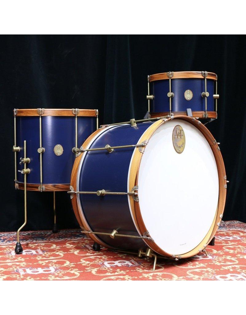 A&F Drum Co A&F Teak Club Drum Kit 24-13-16in - Chandler Blue, wood hoop