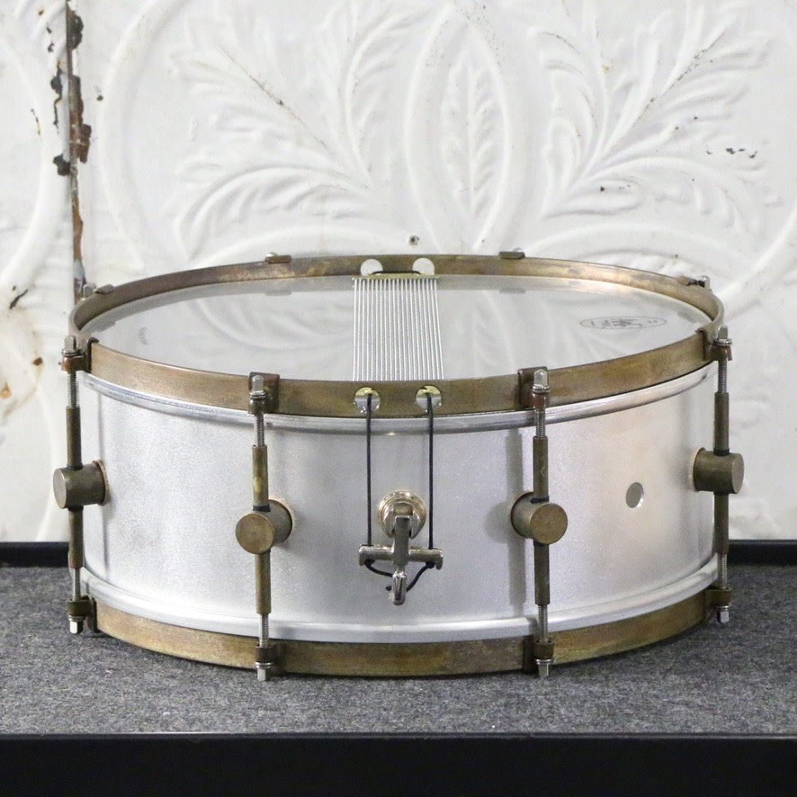 A&F Drum Co A&F Raw Aluminum 14X5.5 Snare Drum - 8 lugs