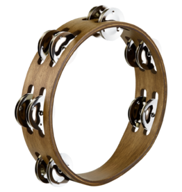 """Meinl COMPACT WOOD TAMBOURINE 8"""" - 2 ROWS - MIXED HAMMERED NICKEL PLATED STEEL/BRASS"""