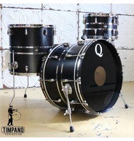 Q Drum Company Batterie Q Drum Maple Satin Black/Chrome 22-12-16po