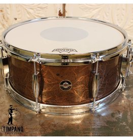 Q Drum Company Q Drum Copper Plate Snare Drum Rose Artwork Patina 14X7""