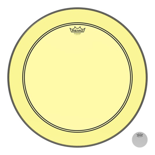 Remo Powerstroke P3 Colortone Yellow Bass Head 24in 5in Offset Hole
