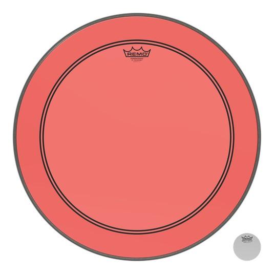 Remo Peau Powerstroke P3 Colortone Rouge Bass 24po 5po Offset Hole
