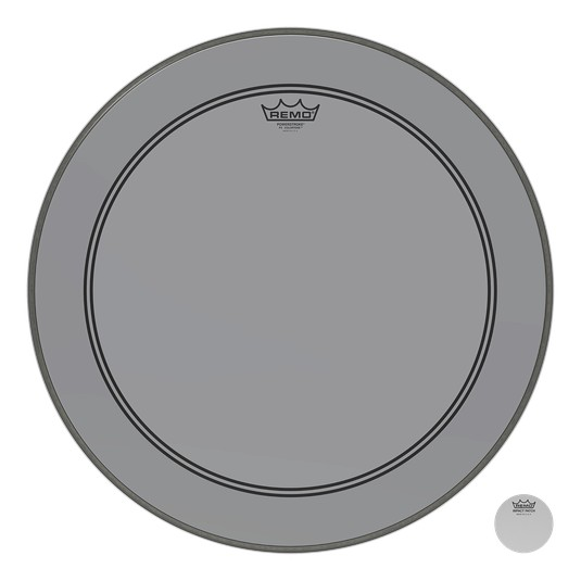 Remo Powerstroke P3 Colortone Smoke Bass Head 24in 5in Offset Hole