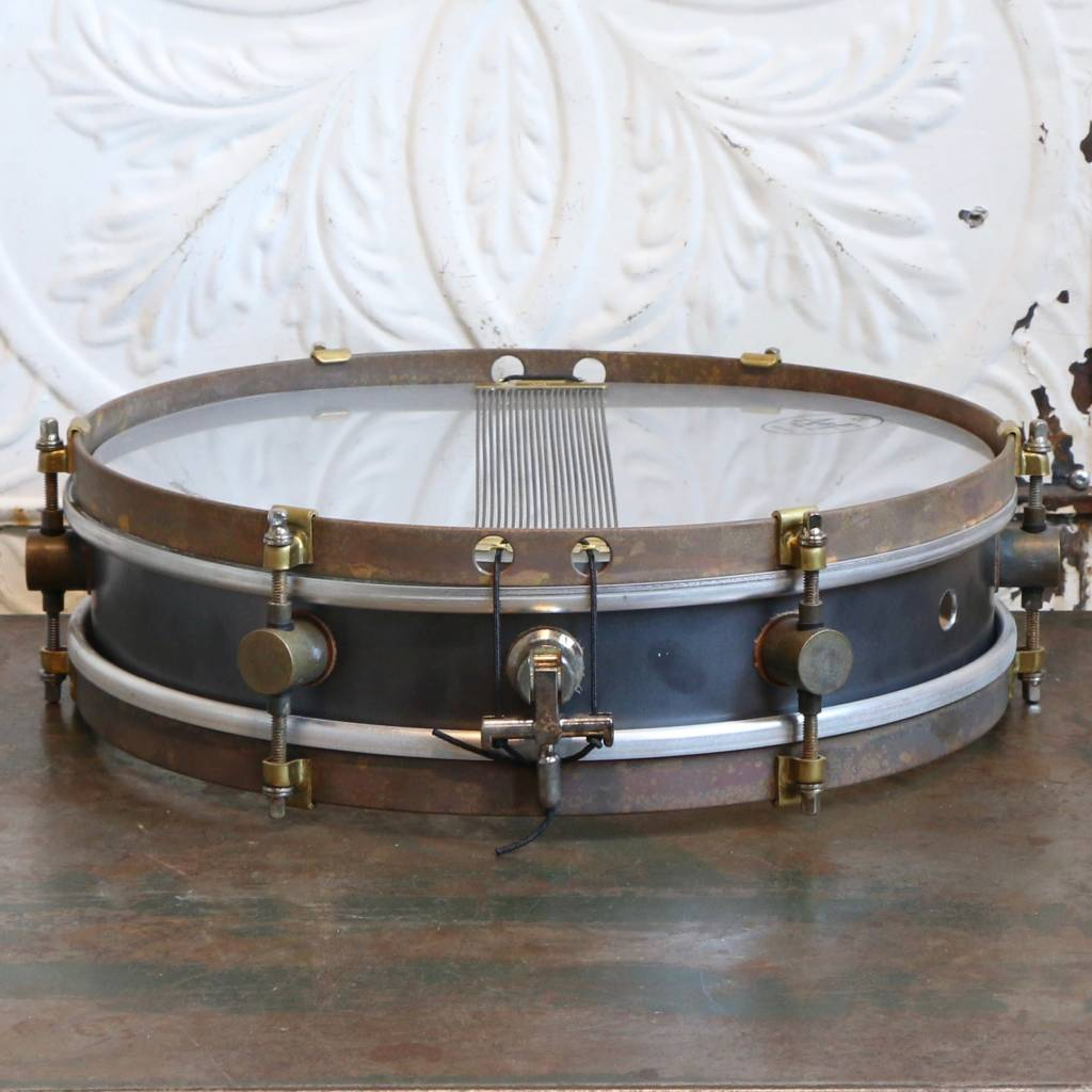 A&F Drum Co A&F Rude Boy Raw Steel Snare Drum 13X3in + internal snare unit