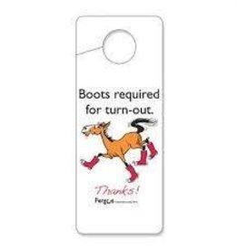 """Fergus Stall Door Hanger """"Boots Required"""""""
