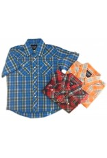 WRANGLER Wrangler Boy's Western Dress Shirt Plaid-Short Sleeve