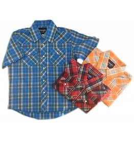 WRANGLER Wrangler Boy's Western Dress Shirt Plaid-Short Sleeve Assorted Colours
