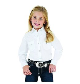 WRANGLER Wrangler Girl's Snap Long Sleeve Western Shirt-White