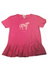 STIRRUPS CLOTHING Girls' Standing Pony Ruffle T-shirt Pink