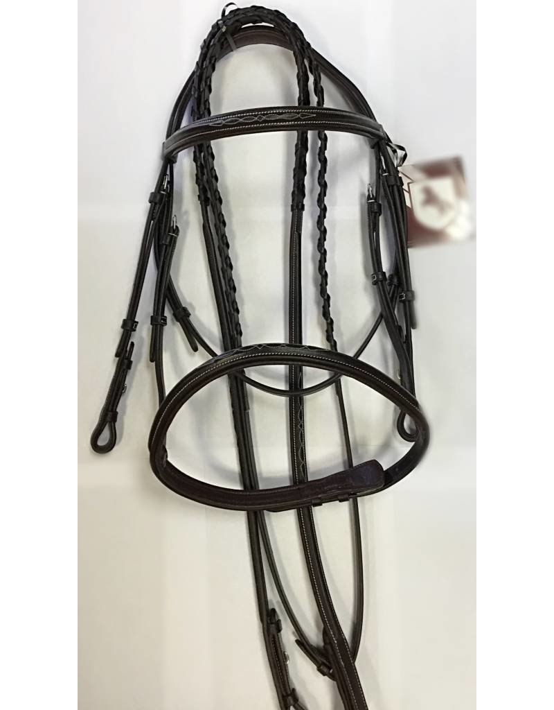 BOBBY'S ENGLISH TACK Bobby's Padded Fancy Stitched Raised Bridle in Havana - Full