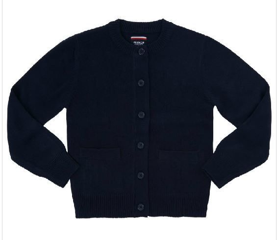 French Toast GIRLS NAVY CREWNECK CARDIGAN