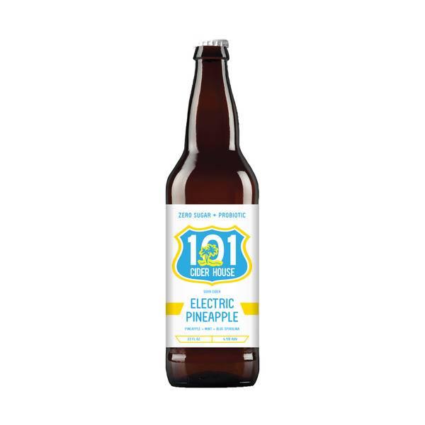 101 Cider House Electric Pineapple Sour Cider + Probiotics 22oz Bomber