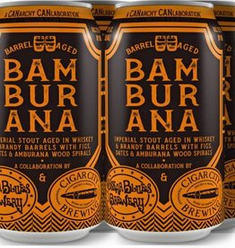 Oskar Blues Cigar X City Collaboration Bamburana Imperial Stout Aged Whiskey & Brandy Barrels With Figs Dates & Amburana Wood Spirals 12oz 4Pk Cans