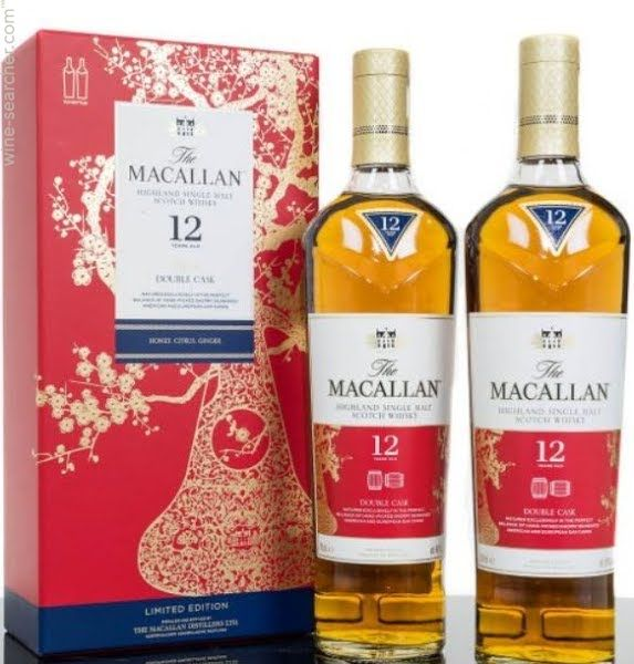 The Macallan Highland Single Malt Scotch Whiskey 12Yrs  Limited Edition  Chinese New Year Double Cask 2-750ml Bottles