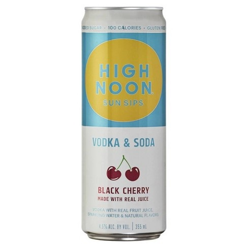 High Noon Sun Sips Black Cherry Vodka & Soda 12oz 4Pk Cans