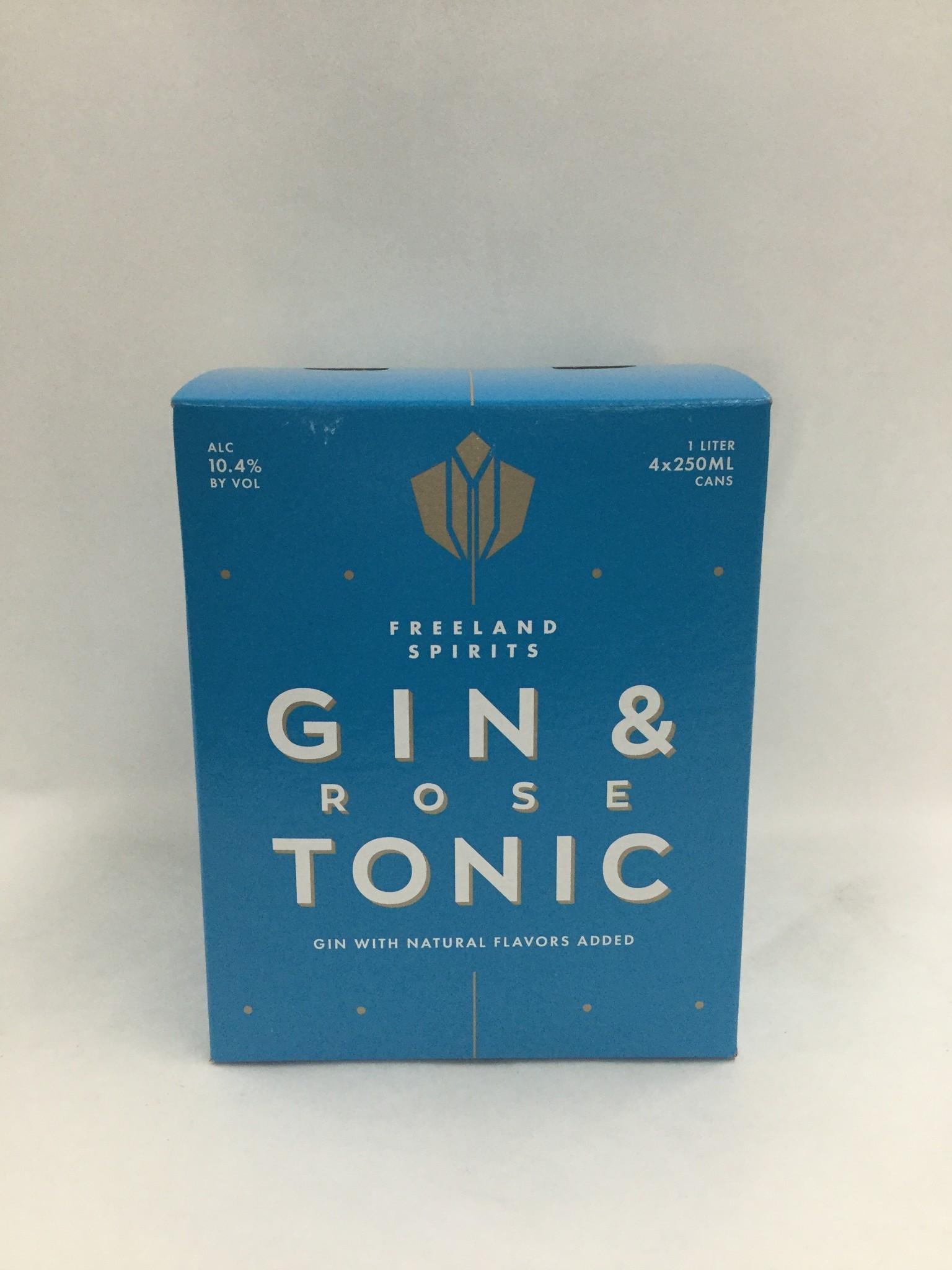Freeland Spirits Portland OR Gin & Rose Tonic 10.4%ABV 250ml 4Pk Cans