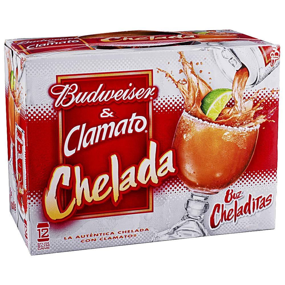 Budweiser & Clamato Cheladita 8oz 12Pk Cans