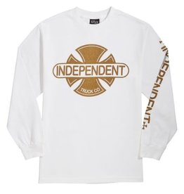 Independent Independent - Baseplate L/S Regular T-Shirt White w/Gold