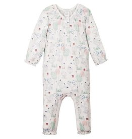 Feather Baby Feather Baby - Ruched Romper Kawaii on White 3-6M