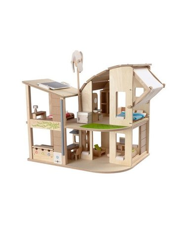 Plan Toys, Inc. Plan Toys Green Dollhouse With Furniture