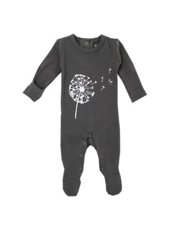 L'ovedbaby L'ovedbaby - Graphic Footie Gray Dandelion 18-24
